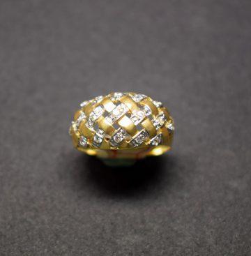 sortija oro rejilla y circonita 5003